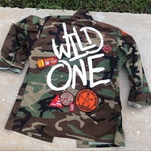 Hand painted vintage patch camo jacket